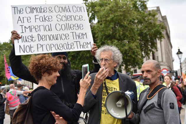 Piers Corbyn protesting climate activists Extinction Rebellion in London in
