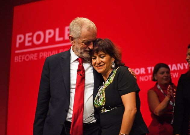 Former Labour leader Jeremy Corbyn with his wife Laura Alvarez, after speaking at the party's annual...