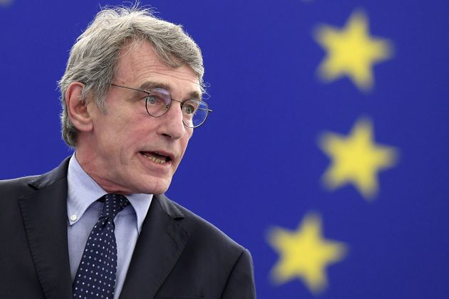 European Parliament President David Sassoli speaks during the opening of the plenary session of the European...