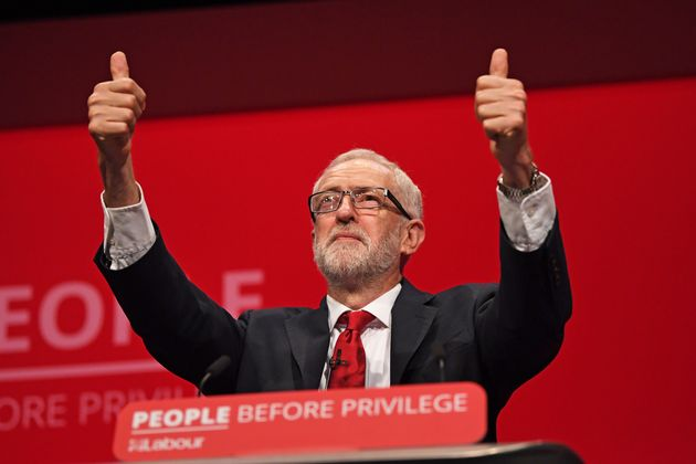 Former Labour leader Jeremy Corbyn speaking at the last party conference in