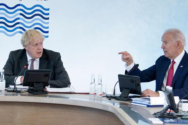 Boris Johnson and Joe Biden at the G7 summit in Carbis Bay, Cornwall in