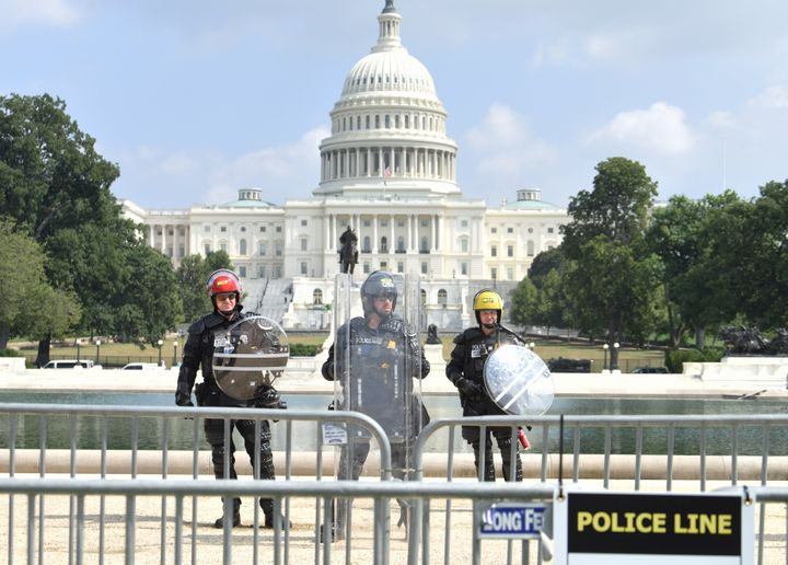 U.S. Capitol Police officers stand guard during a 'Justice for J6' rally near the U.S. Capitol on September 18, 2021 in Washington, DC.