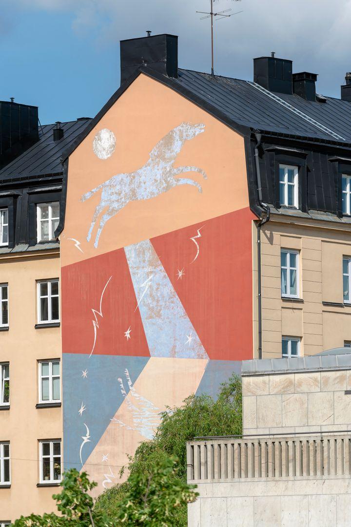 Ζωγραφισμένα έργα τέχνης σε ένα σπίτι στο Place Södermalm, Στοκχόλμη