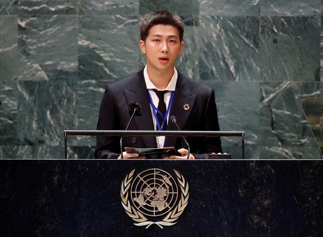 国連本部でスピーチするBTSのRMさん