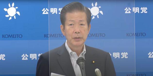 記者会見する公明党の山口那津男代表(9月21日)