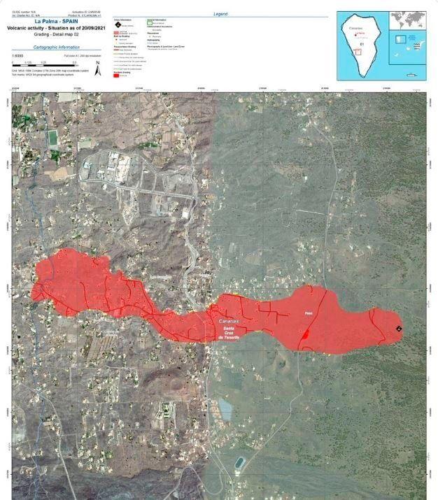 La lava lanzada por la erupción volcánica que comenzó el domingo en la isla de La Palma cubre 106 hectáreas...