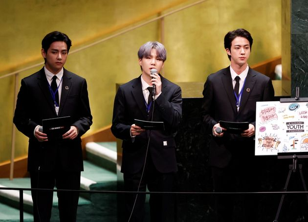 (L to R) V, Suga and Jin of South Korean boy band BTS speak in UN General Assembly Hall at the United...