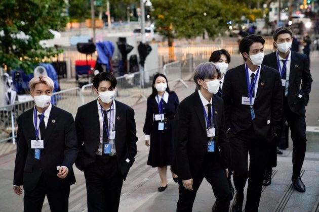 Members of BTS arrive at United Nations headquarters during the 76th Session of the UN General Assembly...