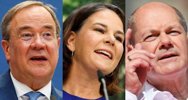 Armin Laschet, Annalena Baerbock y Olaf Scholz, principales candidatos a las elecciones