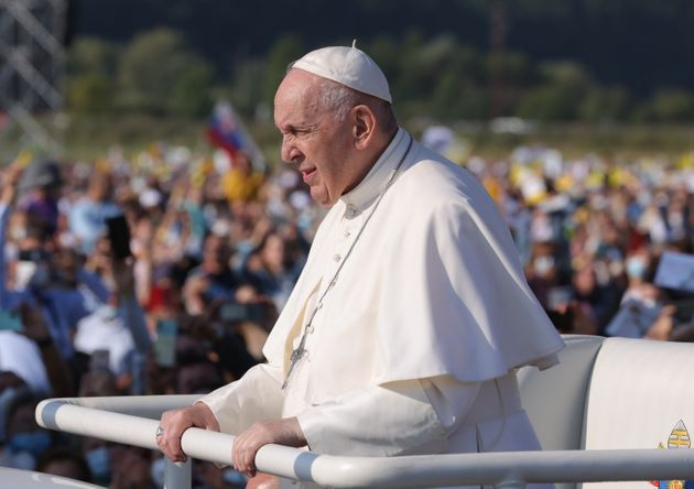 SASTIN, SLOVAKIA - SEPTEMBER 15: Pope Francis rides his Pope mobile through a crowd of pilgrims before...