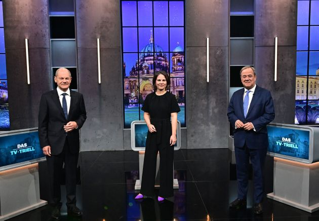 Top candidates for the upcoming German general elections (L-R) Olaf Scholz of the Social Democrats SPD,...