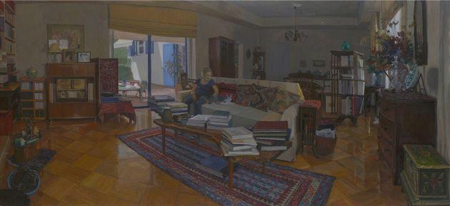 Στο σπίτι του Γιώργου Σεφέρη: Μεγάλο εσωτερικό , 60Χ130 εκ., λάδι σε καμβά, 2017, Σ υλλογή Γιάννου και...