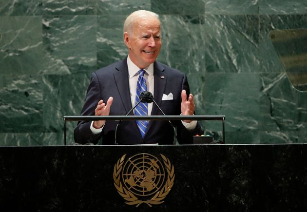 US President Joe Biden addresses the 76th Session of the UN General Assembly on September 21, 2021 in...