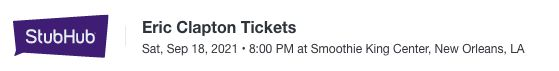 Eric Clapton show listing on StubHub.