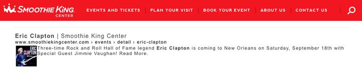 Eric Clapton show listing on Smoothie King Center's website.