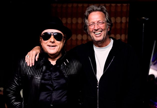 Van Morrison and Eric Clapton backstage during two sold-out nights at London's Royal Albert Hall...