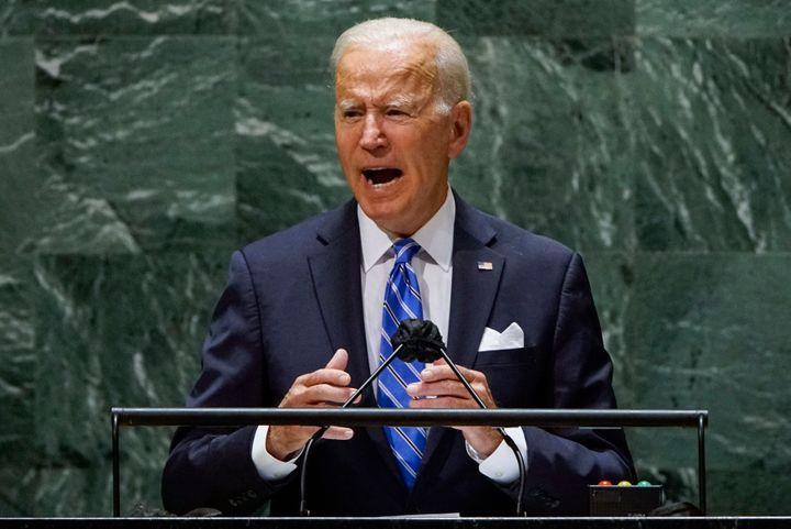 President Joe Biden addresses the 76th session of the United Nations General Assembly in New York on Tuesday, vowing to double U.S. spending on international climate aid by 2024.