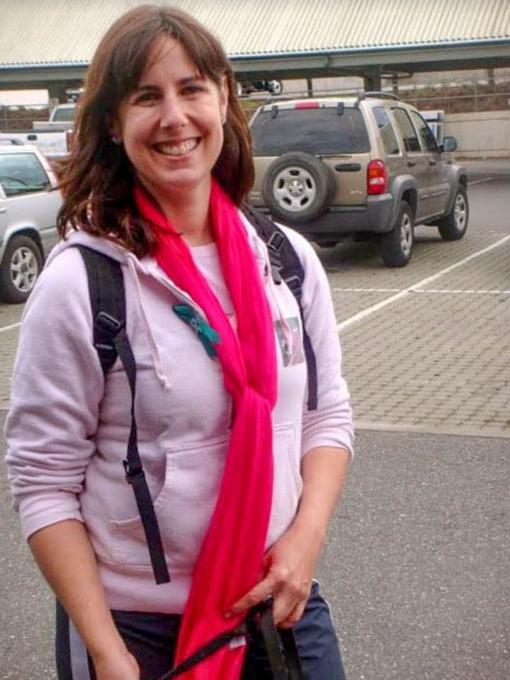 The author learned the symptoms of ovarian cancer a decade before her own diagnosis. In this 2010 photo taken at a Cancer Wal