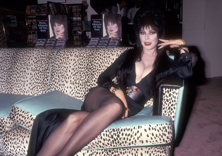 Peterson in character as Elvira in 1991.