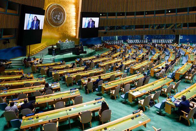 Somalia's President Mohamed Abdullahi Mohamed Farmajo is seen on video screens as he addresses the 76th...