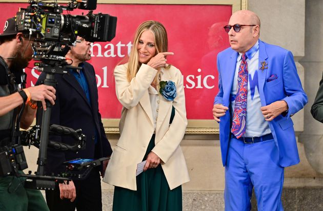 Sarah Jessica Parker and Willie Garson seen on the set of And Just Like That... the follow up series...