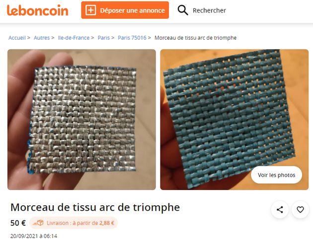 Arc de Triomphe emballé par Christo: du tissu en vente sur Le Bon