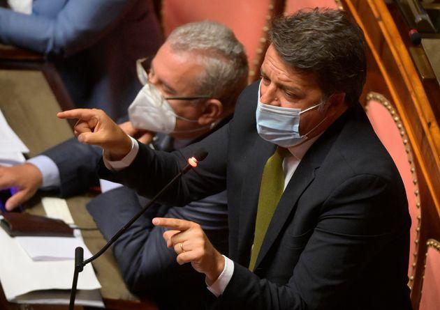 Il senatore di Italia Viva, Matteo Renzi, durante la sua dichiarazione di voto al Senato per la Fiducia...