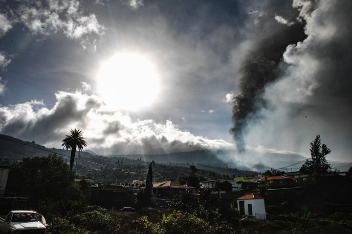 Smoke billows from a volcano near Los Llanos de Ariadne on the island of La Palma in the Canaries, Spain, on Sept. 21, 2021.