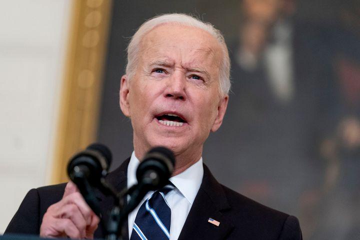 President Joe Biden speaks in the State Dining Room at the White House, Sept. 9, 2021.