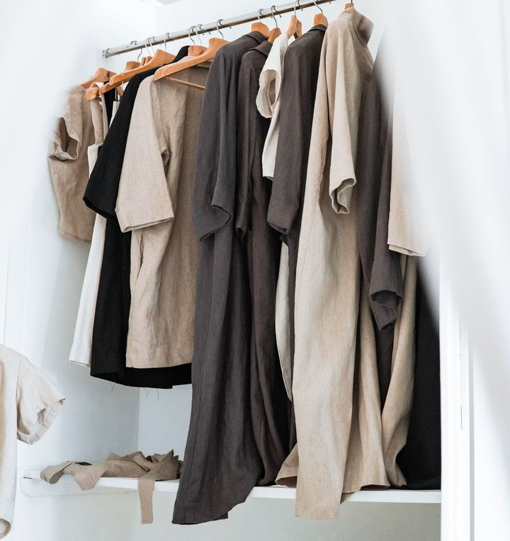 Keeping your clothes in a consistent color palette makes it easy to mix and match.