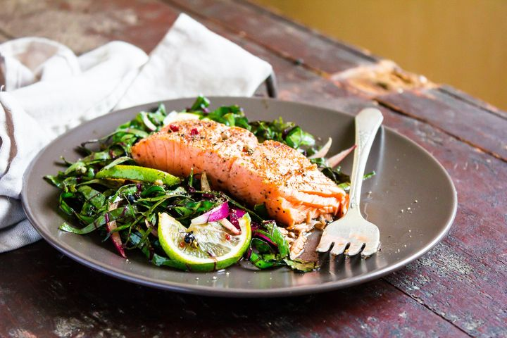 Offset bitter greens with a nice piece of omega-3 rich salmon.