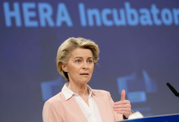BRUSSELS, BELGIUM - FEBRUARY 17: President of the European Commission Ursula von der Leyen attends a...