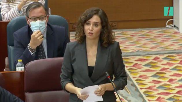 Isabel Díaz Ayuso, en la Asamblea de