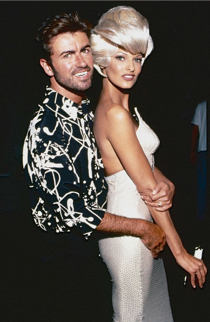 George Michael and Linda Evangelista during the Too Funky video shoot circa 1992 in Paris