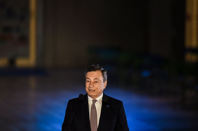 Italy's Prime Minister Mario Draghi delivers a statement during the 8th MED7 Mediterranean countries...