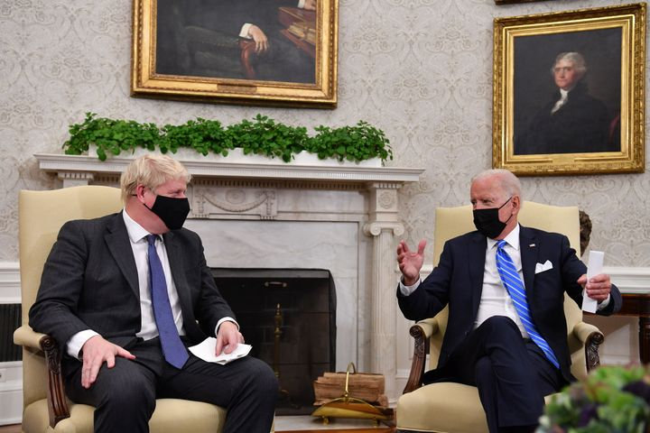 Biden and Johnson during their meeting on Tuesday in the Oval Office