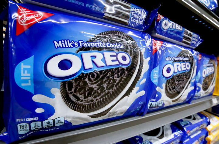 Packages of Oreo cookies line a shelf in a market in Pittsburgh on Aug. 8, 2018.
