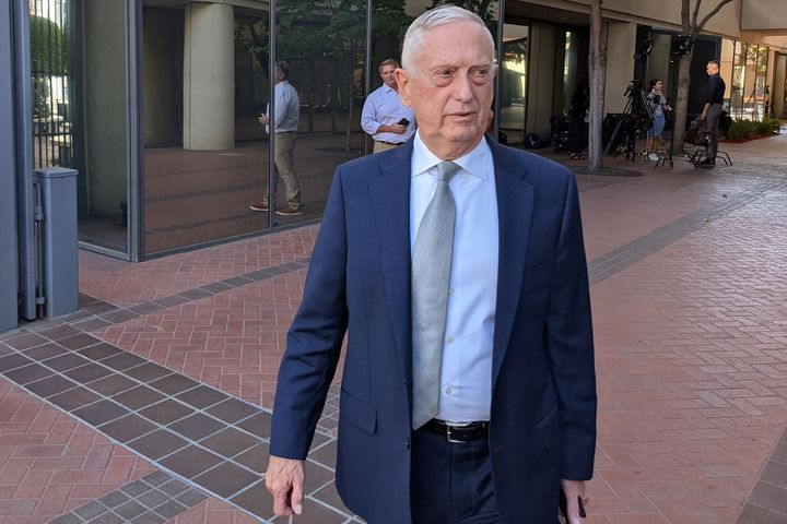 Former Defense Secretary Jim Mattis arrives at a courthouse to testify in the fraud trial of Theranos founder Elizabeth Holme