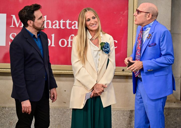 """Mario Cantone, Sarah Jessica Parker and Willie Garson on the set of """"And Just Like That..."""" in July."""
