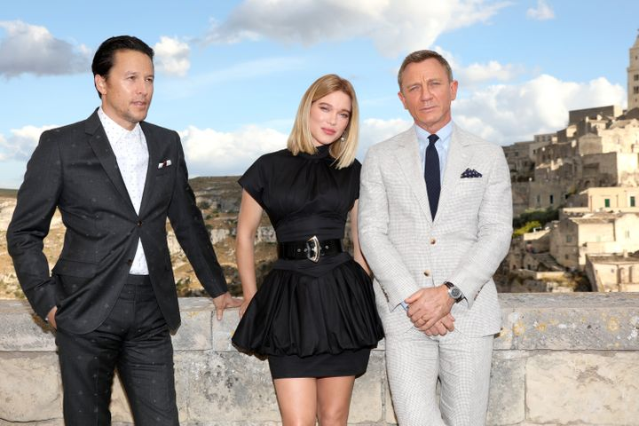 """Cary Fukunaga (left), Léa Seydoux (center) and Daniel Craig (right) arrive to film """"No Time To Die"""" in Matera, Italy,"""