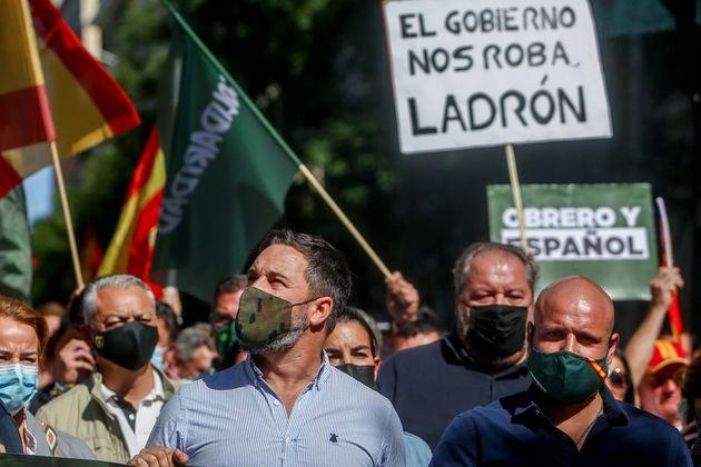 Santiago Abascal durante una manifestación organizada por