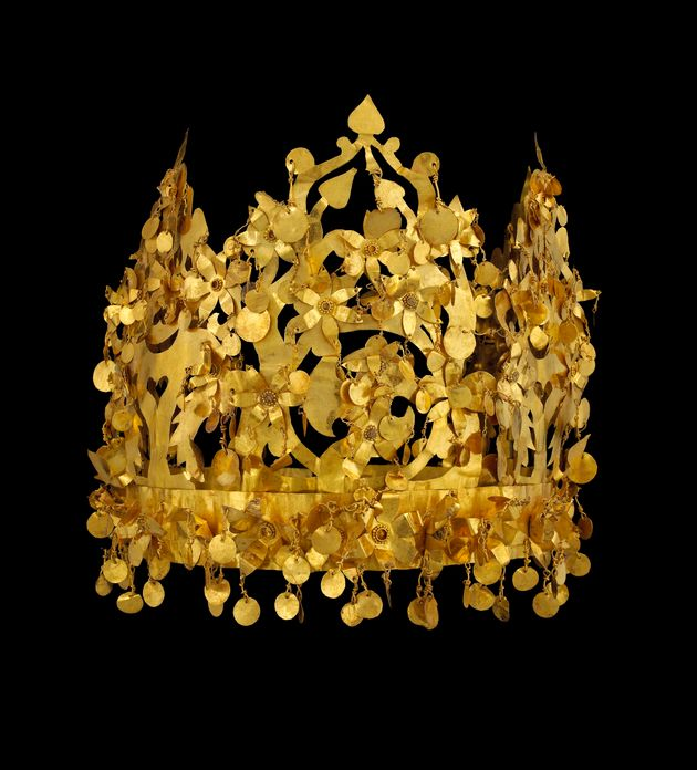 Gold crown from Tillya Tepe, 1st century. Found in the Collection of National Museum of Afghanistan,...
