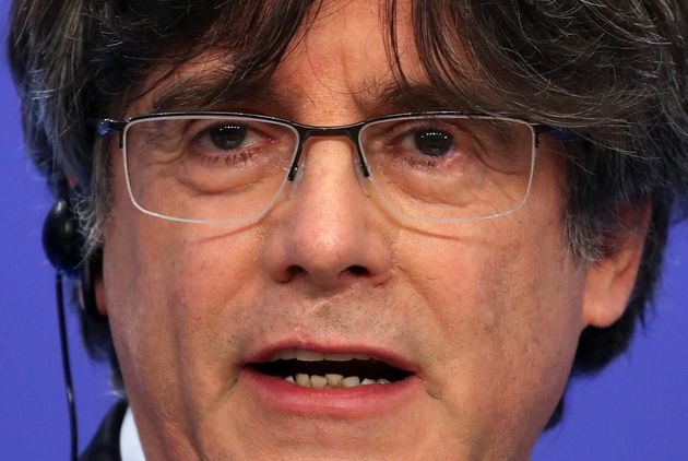 Catalan MEP Carles Puigdemont speaks at a news conference after the European Parliament voted to waive...