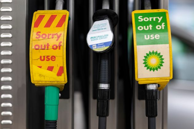 Pumps, out of action, at a BP petrol