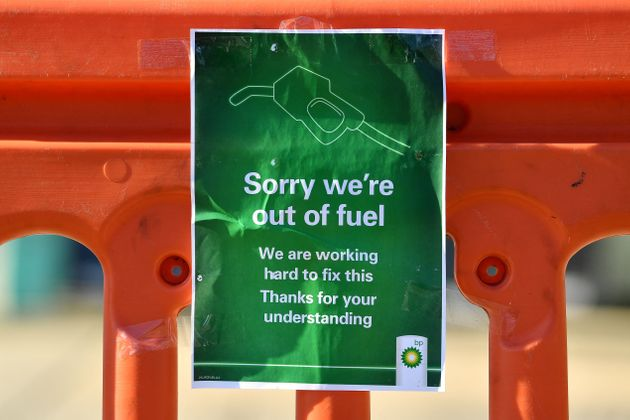 A sign outside a BP petrol station in