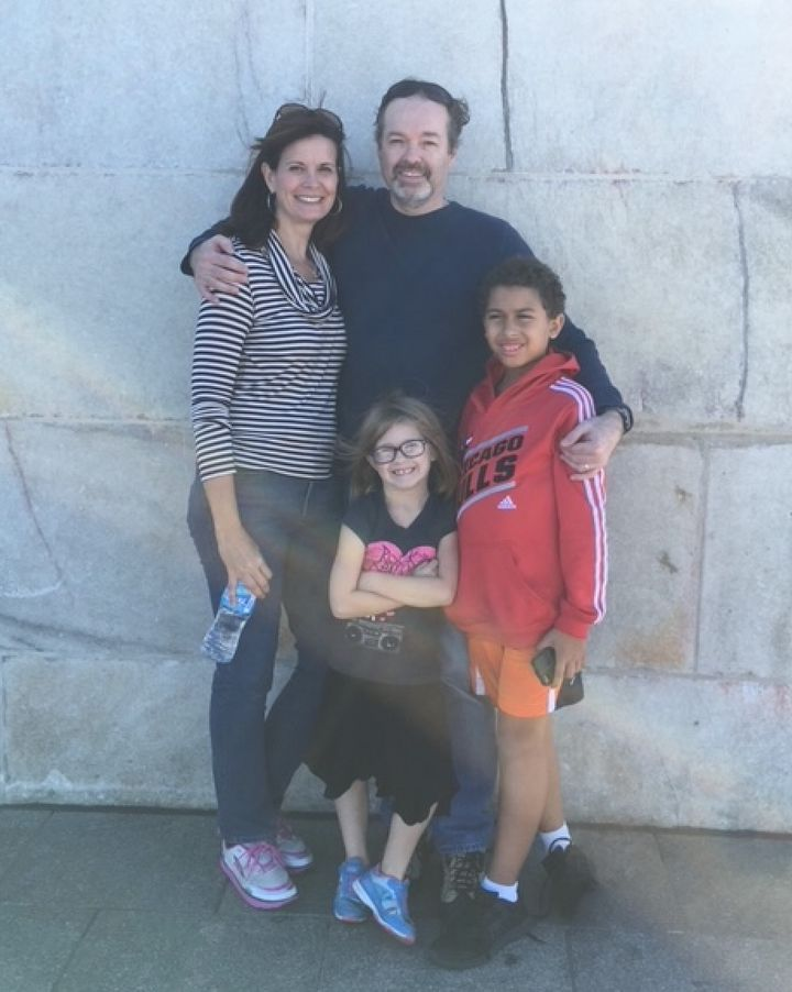 Kelly James, Erik Enger, and their children, Ryan Enger and Haley Enger, at the Washington Monument in Washington, D.C., in October 2015