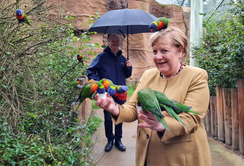 Merkel looked happier during other moments of her