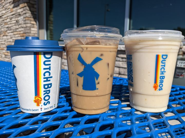 From left to right: the Pumpkin Chai, Cinnamon Swirl Oat Milk Latte and Snickerdoodle Breve from Dutch Bros.