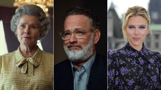 Imelda Staunton como Isabel II, Tom Hanks y Scarlett Johansson