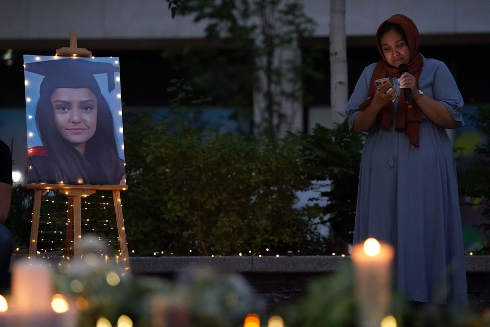 A vigil in memory of Sabina Nessa, and in solidarity against violence against women, at Pegler Square...